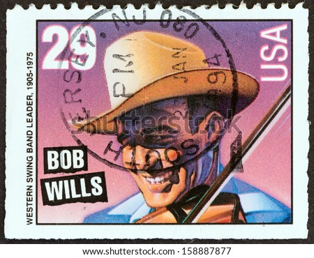"USA - CIRCA 1993: A stamp printed in USA from the ""American Music Series"" issue shows Bob Wills (Western swing band leader), circa 1993."