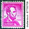 "USA - CIRCA 1954: A stamp printed in USA from the ""Liberty"" issue shows the 16th President of the United States Abraham Lincoln, circa 1954. - stock photo"