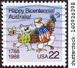 USA - CIRCA 1988: A stamp printed in USA issued for the Bicentenary of Australian Settlement shows Koala and American Bald Eagle, circa 1988. - stock photo