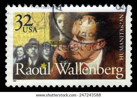 USA - CIRCA 1997 : A stamp printed in USA show Raoul Gustaf Wallenberg, swedish humanitarian, who saved thousands of hungarian jews from the nazis, circa 1997 - stock photo