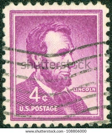 USA - CIRCA 1954: A stamp printed in USA, showing president Abraham Lincoln, circa 1954. - stock photo