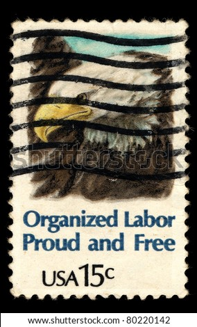 USA - CIRCA 1980: A stamp printed in USA shows American Bald Eagle (Organized Labor Proud and Free), circa 1980 - stock photo