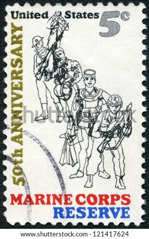 "USA - CIRCA 1966: A stamp printed in USA shows Combat Marine, 1966; Frogman; WW II Flier; WW I ""Devil Dog"" and Marine, 1775, 50th anniversary of the founding of U.S. Marine Corps Reserve, circa 1966 - stock photo"