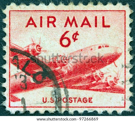 USA - CIRCA 1947: A stamp printed in USA shows Douglas DC-4 Skymaster airliner, circa 1947.