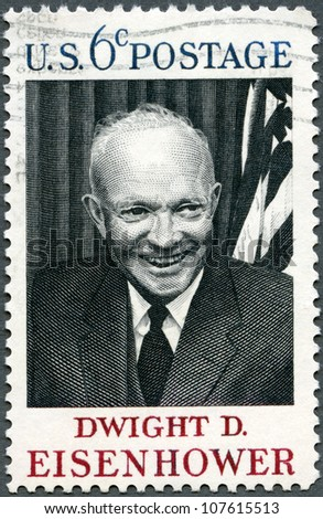 USA - CIRCA 1969 : A stamp printed in USA shows Dwight D. Eisenhower, 34rd President (1890-1969), circa 1969