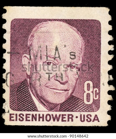 USA - CIRCA 1971: A stamp printed in USA shows Dwight David Eisenhower, circa 1971