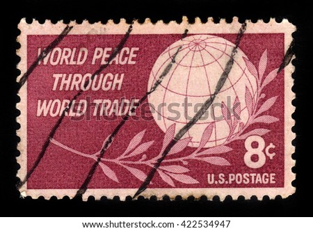 USA - CIRCA 1959: a stamp printed in USA shows Globe and Laurel, World Peace Through World Trade, circa 1959;