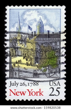 USA - CIRCA 1988: A stamp printed in USA shows image of the dedicated to the July 26, 1788, bicentennial of New York Statehood (United States), circa 1988.