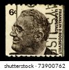 USA-CIRCA 1966:A stamp printed in USA shows image of the Franklin Delano Roosevelt (January 30,1882-April 12,1945) also known by his initials, FDR, was the 32nd President of the USA, circa 1966. - stock photo