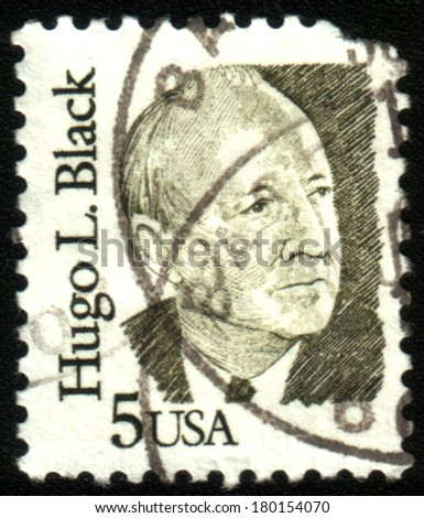 USA-CIRCA 1970:A stamp printed in USA shows image of the Hugo LaFayette Black (February 27, 1886 - September 25, 1971) was an American politician and jurist, circa 1970. - stock photo