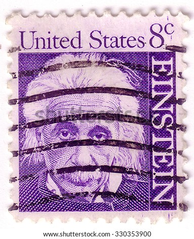USA - CIRCA 1965: A stamp printed in USA shows image portrait Albert Einstein (March 14, 1879 - April 18, 1955) was a theoretical physicist, philosopher and author circa 1965. - stock photo