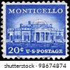 USA - CIRCA 1956: A Stamp printed in USA shows Monticello, the estate of Thomas Jefferson, 200th Anniversary, circa 1956 - stock