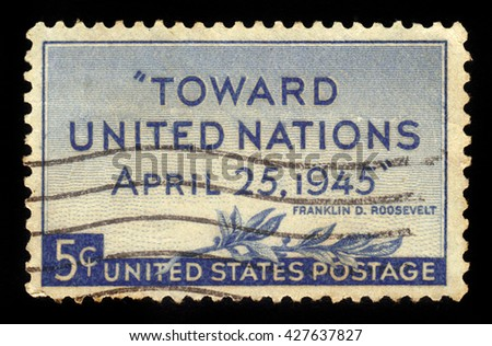 USA - CIRCA 1945: A stamp printed in USA shows olive branch and inscription Toward United Nations April 25,1945, Franklin D Roosevelt, circa 1945