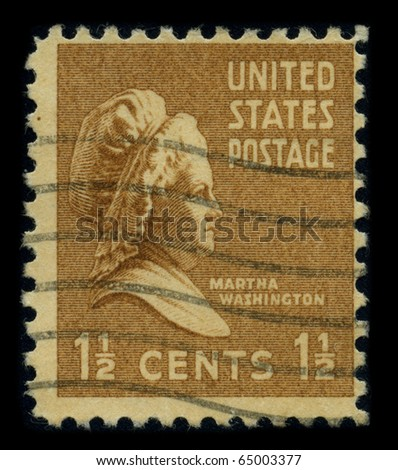 USA - CIRCA 1938: A stamp printed in USA shows portrait Martha Dandridge Custis Washington was the wife of George Washington, the first president of the United States, circa 1938.