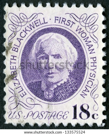 USA - CIRCA 1974: A stamp printed in USA shows portrait of Dr. Elizabeth Blackwell (1821-1910), circa 1974