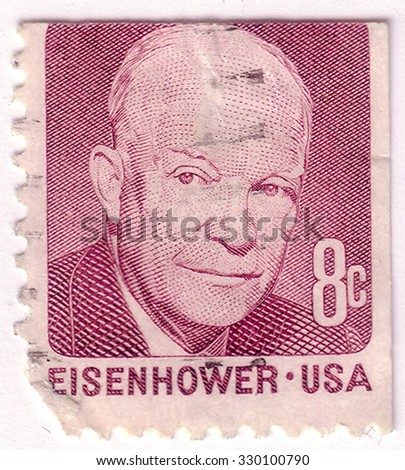 USA - CIRCA 1971: A stamp printed in USA shows portrait of Dwight David Eisenhower (1890-1969) a 34st president United States, circa 1971 - stock photo