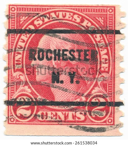 "USA - CIRCA 1923: A stamp printed in USA shows portrait of George Washington (1732-1799) a 1st President of the United States  and postmark ""Rochester N.Y."", circa 1923 - stock photo"