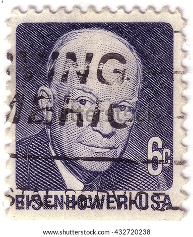 USA - CIRCA 1970: A stamp printed in USA shows Portrait President Dwight David Eisenhower circa 1970 - stock photo
