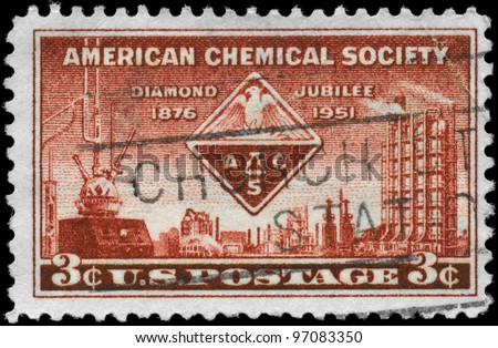 USA - CIRCA 1951: A Stamp printed in USA shows the ACS Emblem and symbols of Chemistry, American Chemical Society Issue, circa 1951