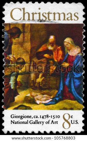 USA - CIRCA 1971: A Stamp printed in USA shows the �Adoration of the Shepherds�, by Giorgione (1478-1510), National Gallery of Art, Washington, circa 1971