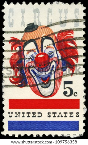 USA - CIRCA 1966: A Stamp printed in USA shows the Clown, American Circus issue, circa 1966