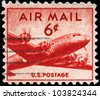 USA - CIRCA 1947: A Stamp printed in USA shows the Douglas DC-4 Skymaster, circa 1947 - stock photo