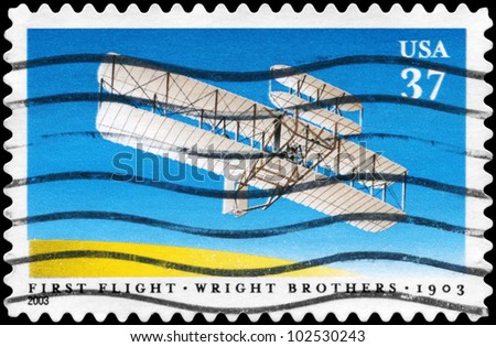 USA - CIRCA 2003: A Stamp printed in USA shows the First Flight of Wright Brothers, Century issue, circa 2003