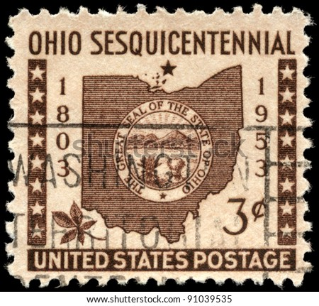 Usa Circa 1953 A Stamp Printed In Usa Shows The Map And Ohio State