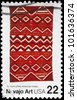 USA - CIRCA 1986: A Stamp printed in USA shows the Navajo Art, Blankets in the Museum of the American Indian, Folk Art Series, circa 1986 - stock photo