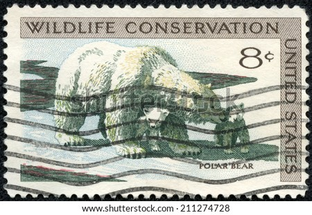 USA - CIRCA 1971: A Stamp printed in USA shows the Polar Bear and Cubs, Wildlife Conservation issue, circa 1971