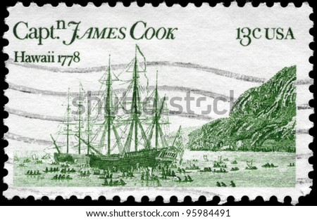 USA - CIRCA 1978: A Stamp printed in USA shows the Resolution and Discovery, by John Webber, devoted to Captain James Cook, 200th anniversary of his arrival in Hawaii, circa 1978