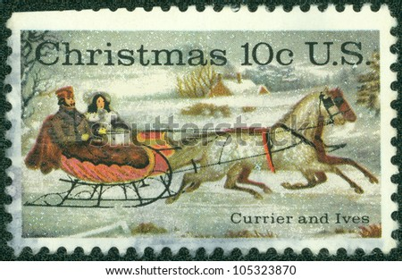 USA - CIRCA 1974: A stamp printed in USA shows 'The Road-Winter' by Currier & Ives, circa 1974