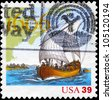 USA - CIRCA 2006: A Stamp printed in USA shows the Ship and Map, exploration of East Coast by Samuel de Champlain, 400th anniversary, circa 2006 - stock photo