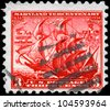 """USA - CIRCA 1934: A Stamp printed in USA shows the ships """"The Ark"""" and """"The Dove"""", 300th anniversary of the founding of Maryland, circa 1934 - stock photo"""