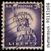 USA - CIRCA 1954: A stamp printed in USA shows The Statue of Liberty, circa 1954. - stock photo