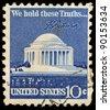 USA - CIRCA 1973: A stamp printed in USA shows Thomas Jefferson Memorial, circa 1973 - stock photo