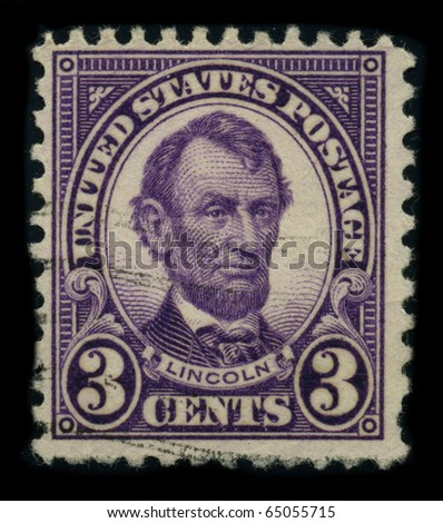 USA-CIRCA 1924: A stamp shows image portrait Abraham Lincoln (February 12, 1809 - April 15, 1865) served as the 16th President of the United States, circa 1924. - stock photo