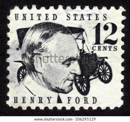 USA - CIRCA 1970: A stamp shows image portrait Henry Ford (1863 - 1947) and car Ford Model T was a prominent American industrialist, the founder of the Ford Motor Company, circa 1970.
