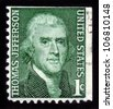 USA - CIRCA 1950: A stamp shows image portrait Thomas Jefferson was the third President of the U S A, the principal author of the Declaration of Independence (1776), circa 1950. - stock photo