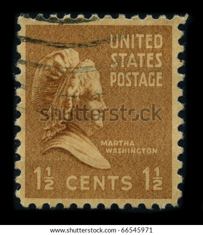 USA - CIRCA 1938: A stamp shows portrait Martha Dandridge Custis Washington (June 2, 1731 - May 22, 1802) was the wife of George Washington, the first president of the United States, circa 1938.