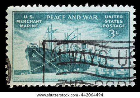 USA - CIRCA 1946: A used postage stamp printed in United States shows a freighter vessel from merchant marine to commemorate the Contribution to Commercial Fleet in World War II, circa 1946 - stock photo