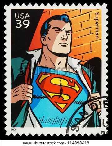 USA - CIRCA 2006: A Used Postage Stamp showing the Superhero Superman, circa 2006 - stock photo