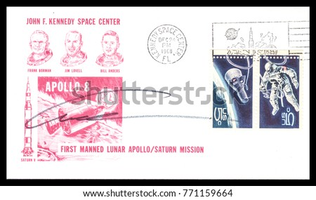 USA - CIRCA December 24th1968: Nasa, US postal service first day cover with hand written signature  of Bill Anders, commemorating: Apollo 8 spaceship  Project.