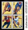 USA - CIRCA 1996: Four stamp dedicated to The 1996 Summer Olympics of Atlanta, officially known as the Games of the XXVI Olympiad and unofficially known as the Centennial Olympics, circa 1996. - stock photo