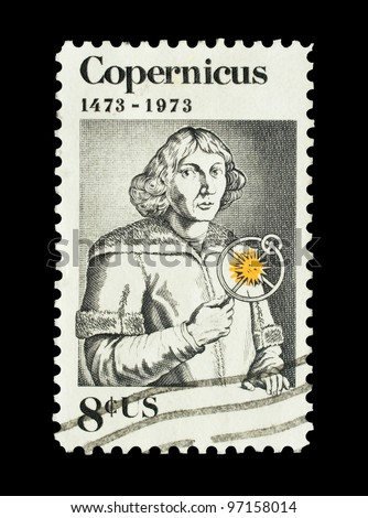 USA - CIRCA 1973: Mail stamp printed in the USA featuring pioneering astronomer Nicolaus Copernicus, circa 1973