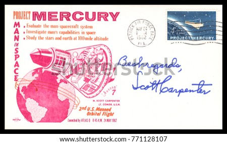 USA - CIRCA May 24th 1962: NASA, US postal service first day cover with hand written signature  of Scott Carpenter, commemorating: Mercury Project spaceship.
