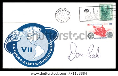 USA - CIRCA October 11th1968: Nasa, US postal service first day cover with hand written signature  of Donn F. Eisele, commemorating: Apollo 7 spaceship  Project.