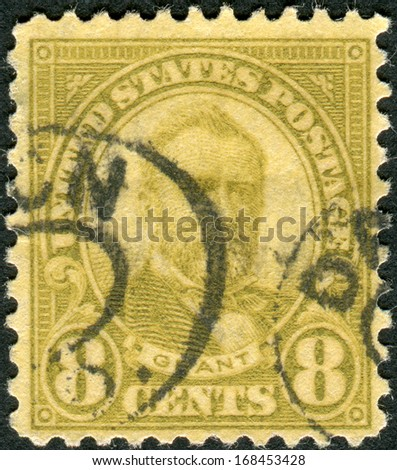USA - CIRCA 1923: Postage stamp printed in the USA, a portrait of 18th President of the United States, Ulysses S. Grant, circa 1923 - stock photo
