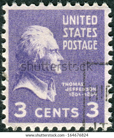 USA - CIRCA 1938: Postage stamp printed in the USA, a portrait 3th President of the United States, Thomas Jefferson, circa 1938 - stock photo