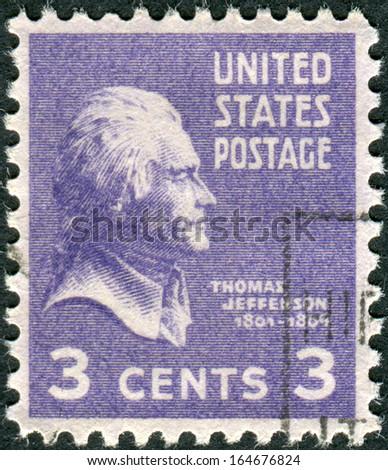 USA - CIRCA 1938: Postage stamp printed in the USA, a portrait 3th President of the United States, Thomas Jefferson, circa 1938 - stock photo